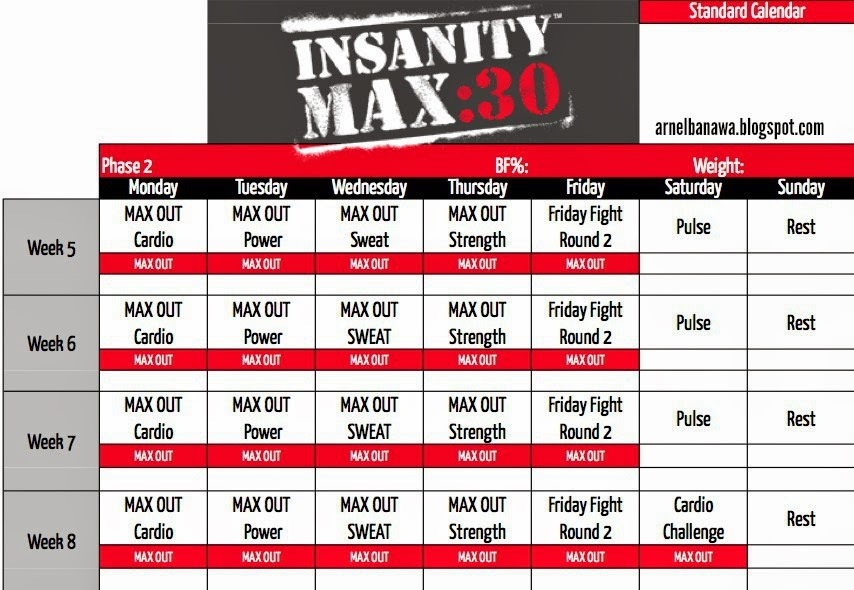 Arnel Banawa Insanity Max  Workout Sheets  Max  Workout Calendar