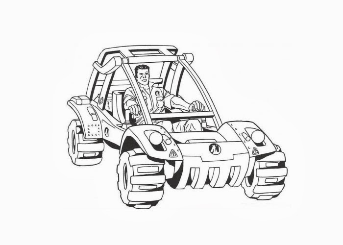 Action Man Riding His Vehicle Coloring Page Free