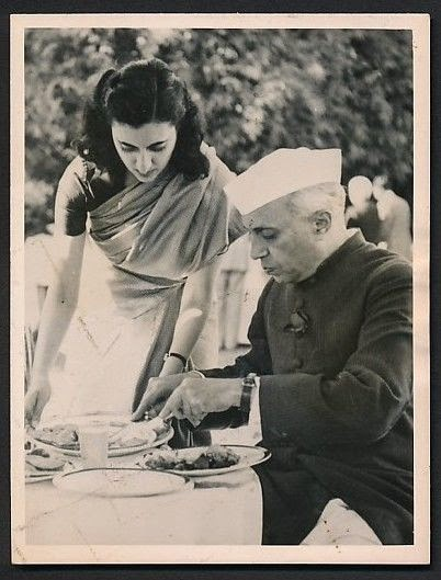 Indira Gandhi Serving Food to her Father Indian Prime Minister Jawaharlal Nehru - 1954