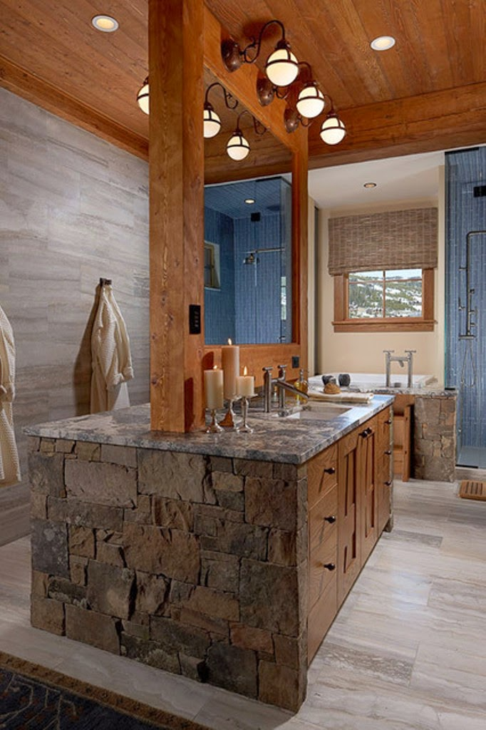 Warm inviting modern rustic bathroom decor home for Rustic modern bathroom ideas