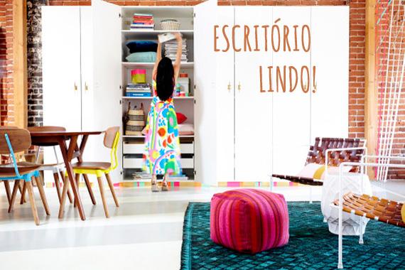 ideia para escritório - escritório lindo - rodapé colorido