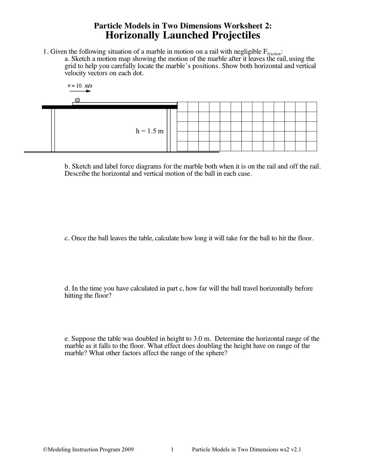 DCHS Honors Physics – Projectile Motion Worksheet
