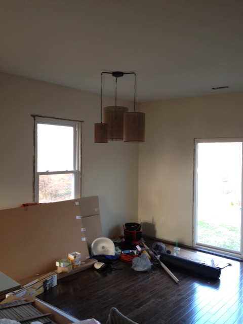 by our pendant light that will hang above the dining room table
