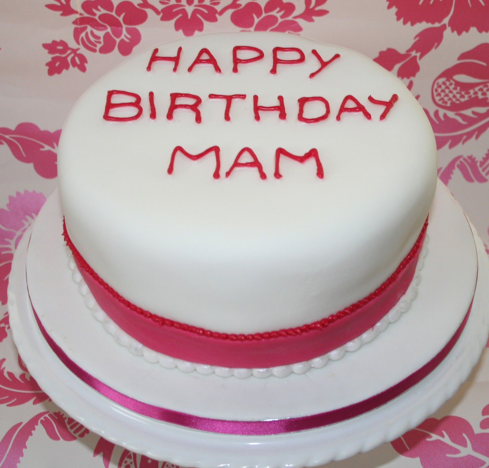 Chintzy Cakes Pink And White Birthday Cake