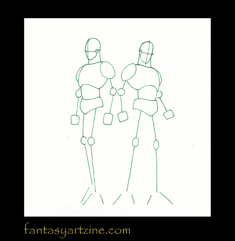 How to draw Superman and Batman body frame.