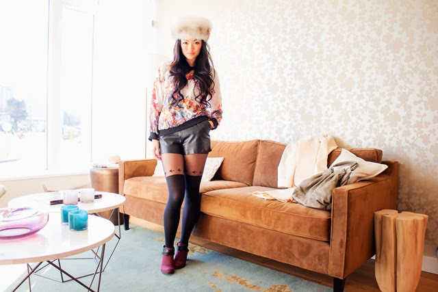 Vancouver Fashion Blogger Jasmine Zhu wearing vintage fur hat and vintage coat, Persun mall Round Neck Printed Shirt leather shorts bird tights