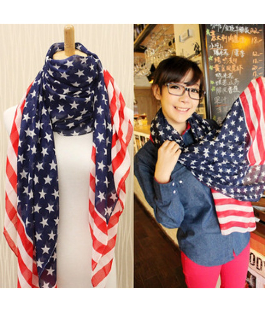 Usa Stars Stripes Flag Fashion Fluffy Fashion Elegant All Match Scarf