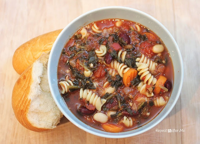 Repeat Crafter Me: Crock Pot Chunky Minestrone Soup