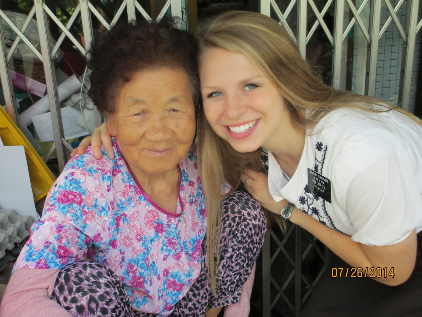 Cutest grandma who lives right across from our church building. She lives alone and her husband passed away a long time ago, so we like to visit with her! (she's the one I met with Sister Simonsen who ate lots of bug guts in front of us!) She's the best! We love her!
