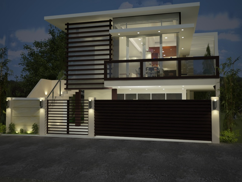 Indon design home house fence design for Minimalist home designs philippines