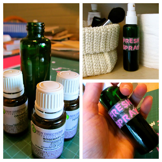 collage of essential oil bottles, green glass bottle with spray top and finished product with label of 'fresh spray' on the bottle