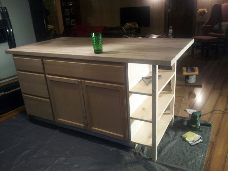 A bundle of fun diy kitchen island for Making a kitchen island from cabinets