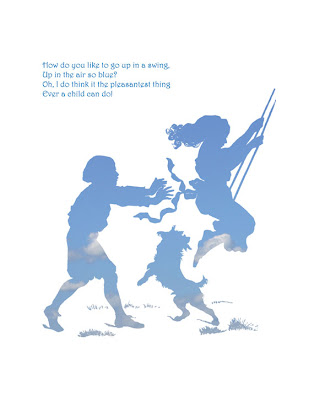 sky and cloud filled silhouette of children swinging