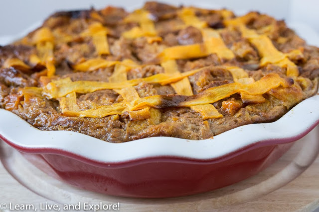 Pumpkin and Butternut Squash Bread Pudding with Bourbon Pecan Sauce