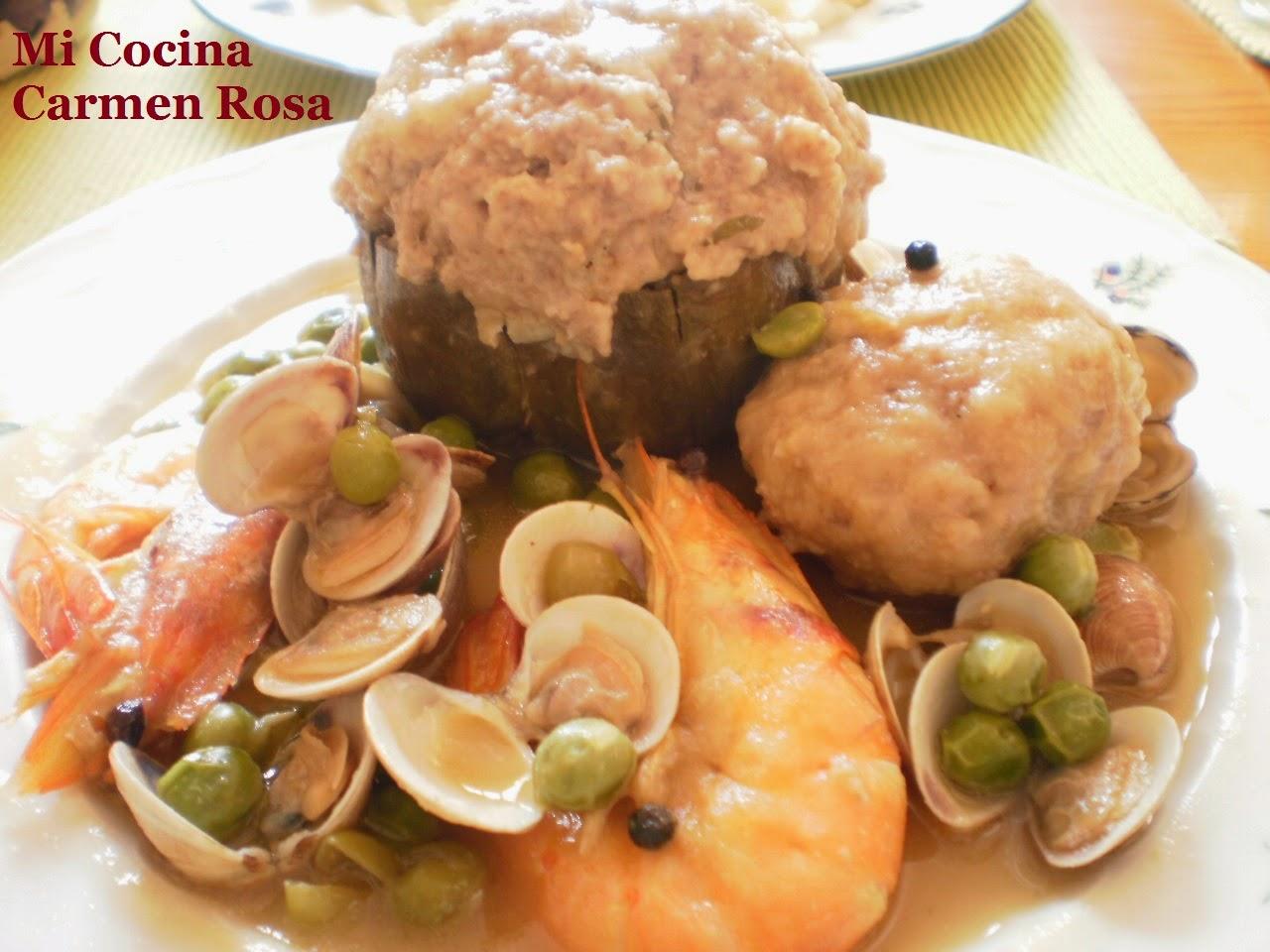 Mi cocina alcauciles alcachofas rellenas de carne de for Como cocinar carne de chivo