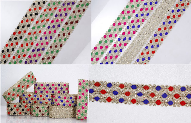 Multi Colour Pearl Heavy Dimond Work Lace In Multiple Patterns Buy Wholesale