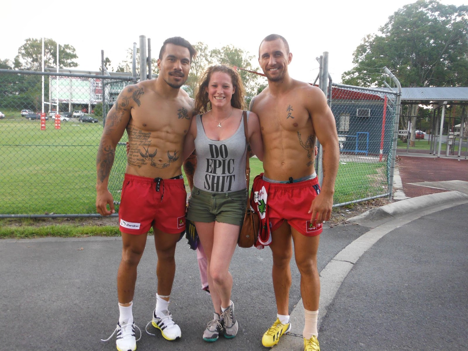 Shirtless Digby Ioane and Quade Cooper with FanQuade Cooper Tattoo 2013