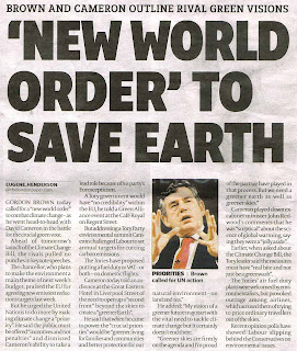 """New World Order"" to save the Earth"