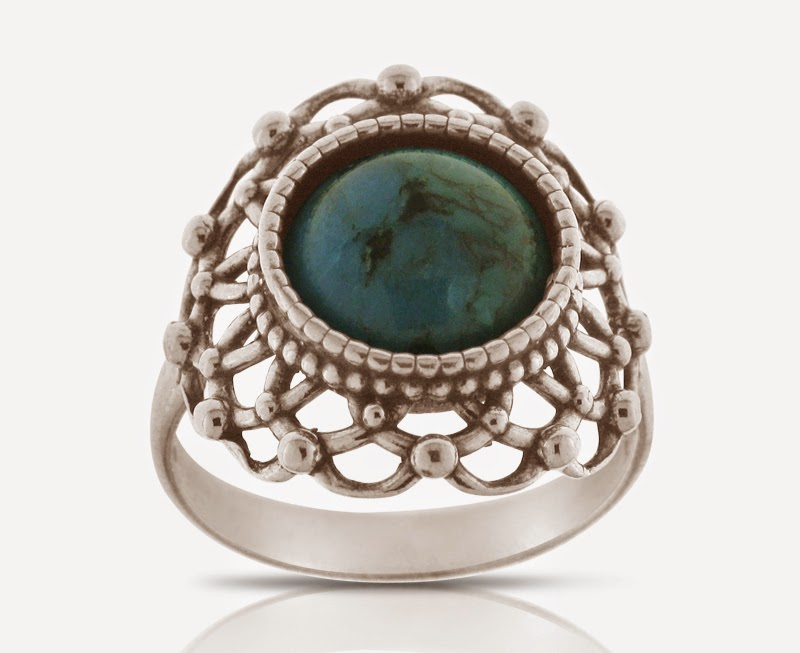 Magnolia Jewellery silver dainty ring with turquoise