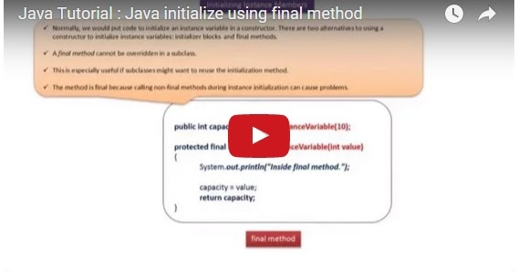 Java ee java tutorial java initialize using final method for Pool design pattern java