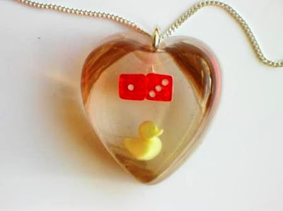 Rubber duck, dice and hair pendant