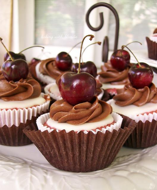 Fresh Cherry Cupcakes With White Chocolate Ganache And Cocoa Buttercream