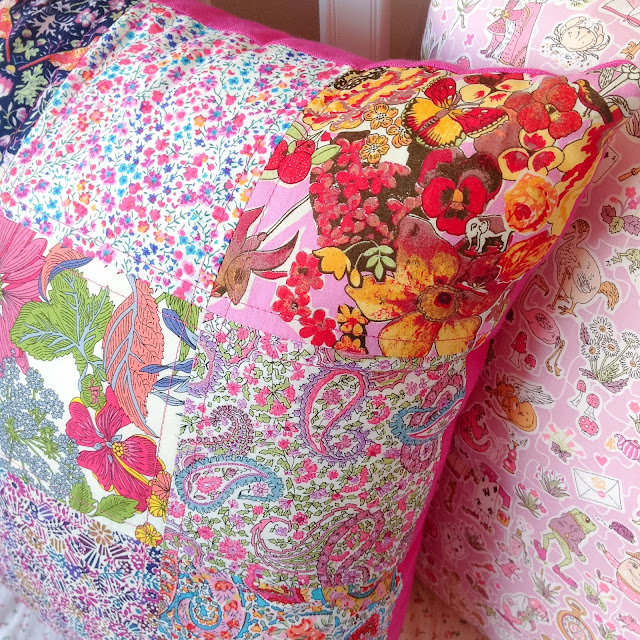 Closeup Patchwork Cushion showing hidden Elephant