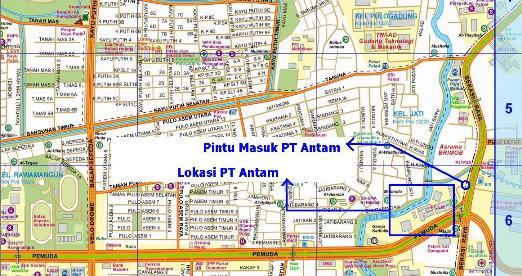 peta lokasi PT Antam