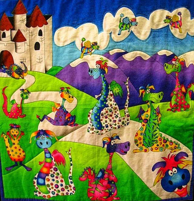 Sunset coast look kids quilts for Dragon fabric kids