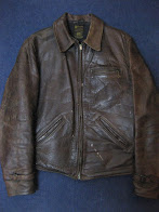 30's HORSE HIDE                LEATHER JACKET               WITH                ハトメ付き TALON ZIP.