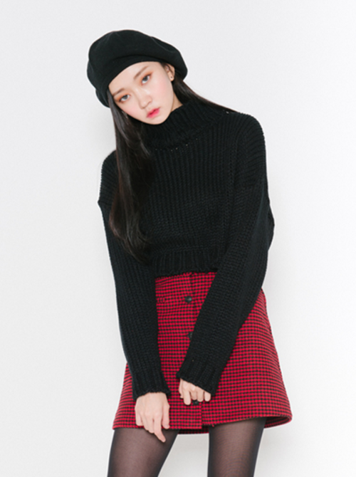 Houndstooth Button-Front Mini Skirt