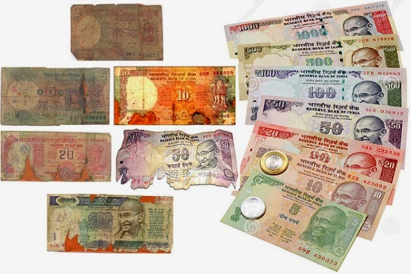 Ways to handle old or Torn Rupee Notes