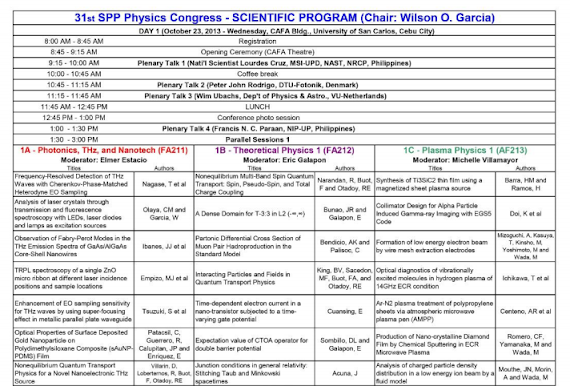 SPP 2013 Physics Congress Program version 2013.10.22 15:46 H p. 1a