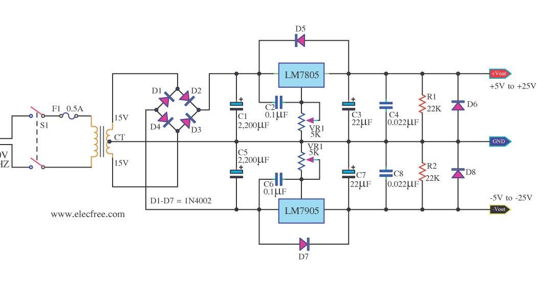 Ic-7805 7905 Based Power Supply  5v To  25v  -5v To