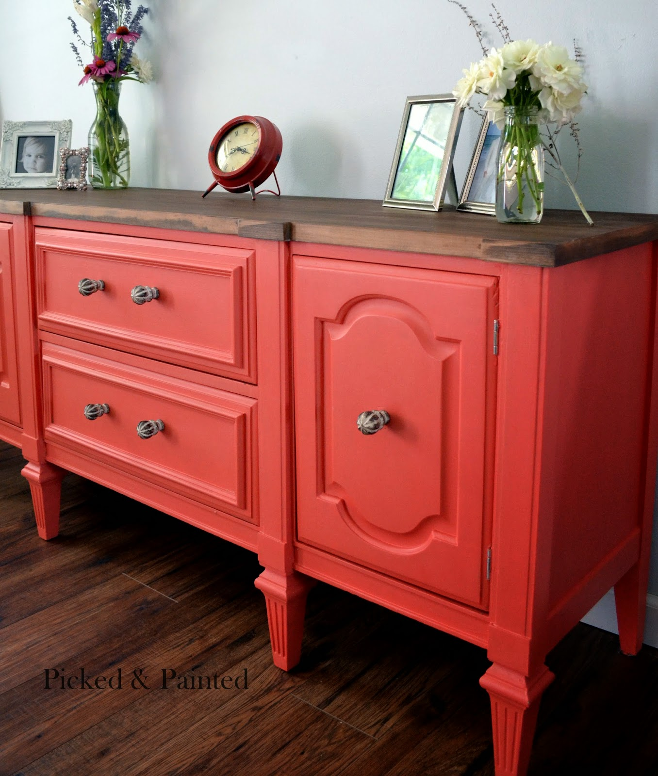 Painted Buffet Stained Top Picked And Painted.jpg. Full resolution  portrait, nominally Width 1356 Height 1600 pixels, portrait with #AA2921.