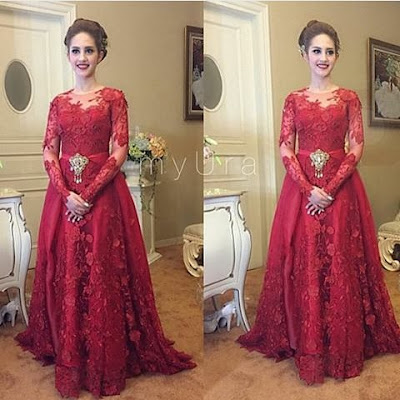 kebaya dress panjang broklat warna merah