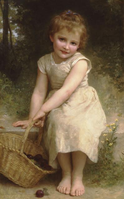 plums,cute girl,William Adolphe Bouguereau
