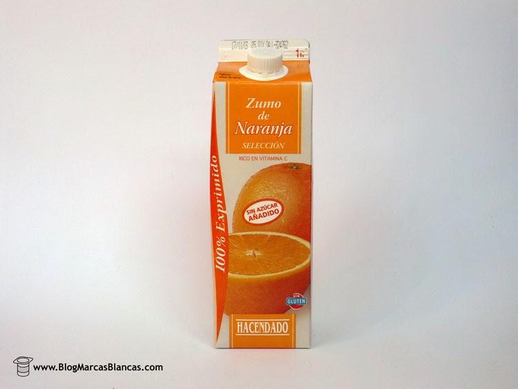 Zumo refrigerado de naranja exprimida HACENDADO de Mercadona.