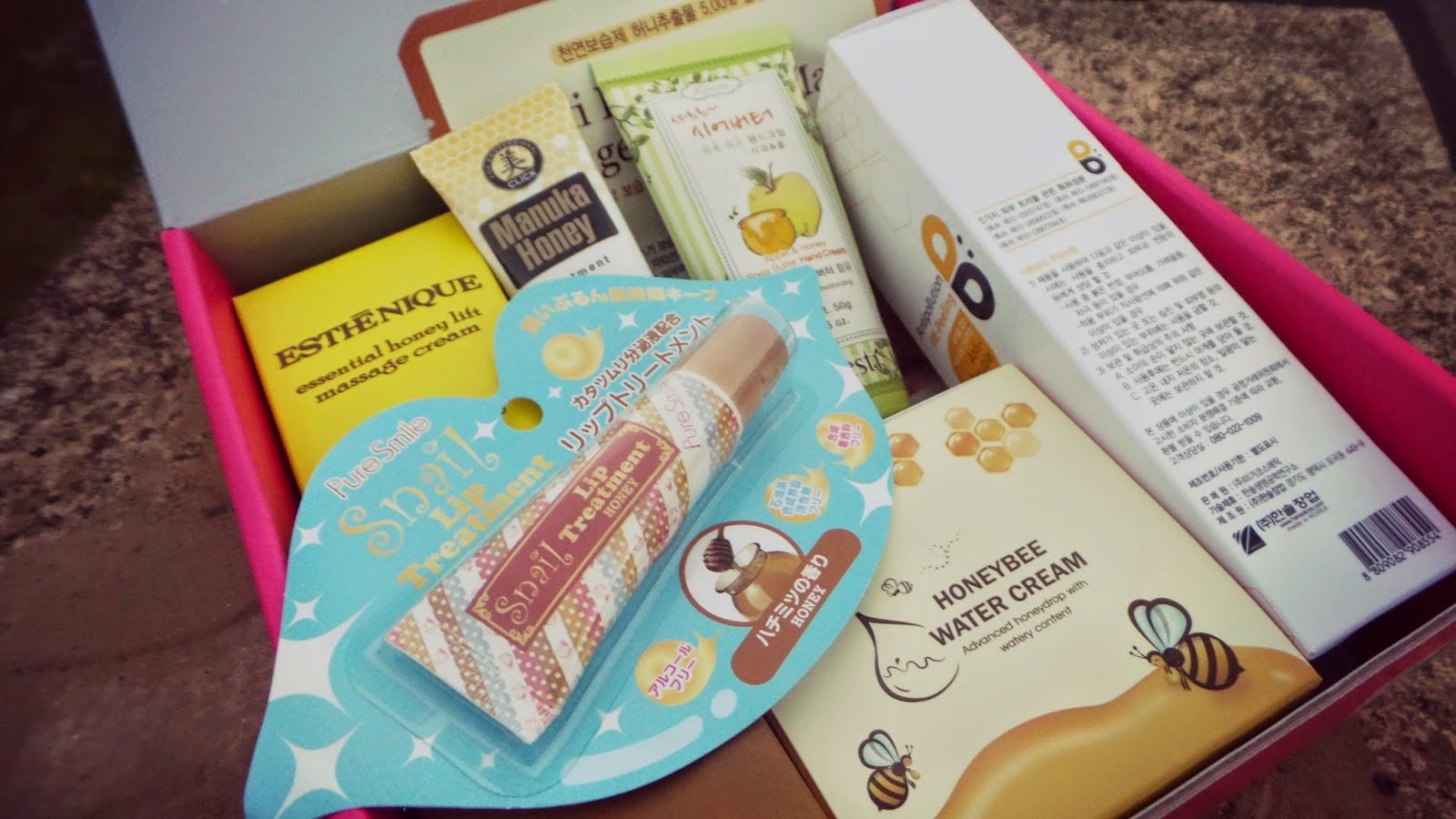 Korean beauty products with honey as ingredient