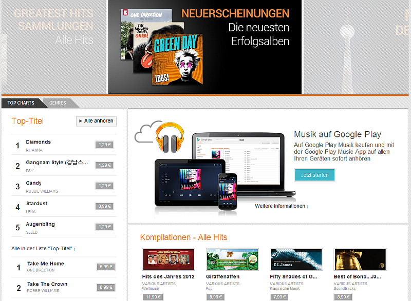 Google Play Music - Google Screenshot von Atomlabor Wuppertal Blog
