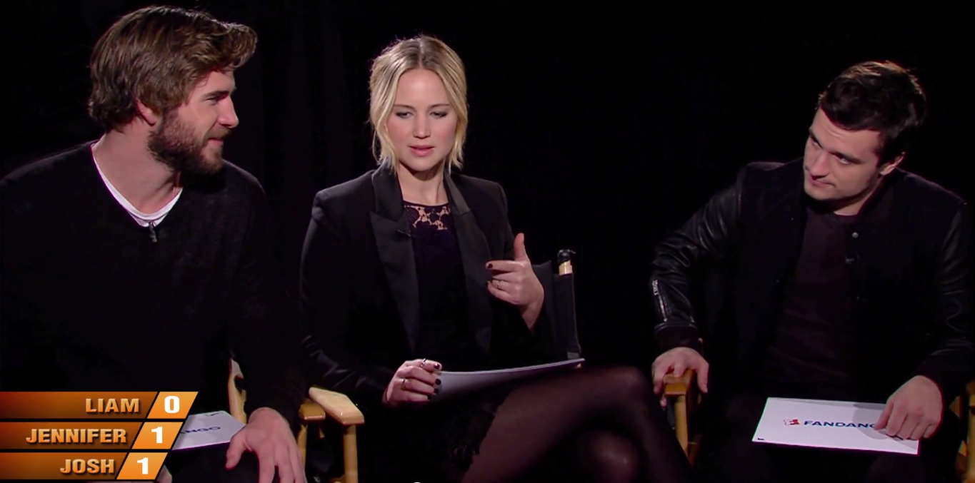 jennifer lawrence josh hutcherson liam hemsworth how well do you know each other video mockingjay