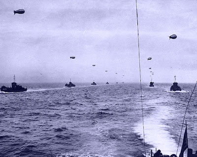 D-Day landing craft in the English Channel heading for Normandy