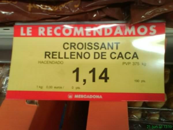 Croissant relleno de caca del Mercadona