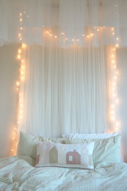 Curtains Ideas curtain lights for bedroom : A Tray of Bliss: Boho Bedroom...twinkly lights and bedheads....