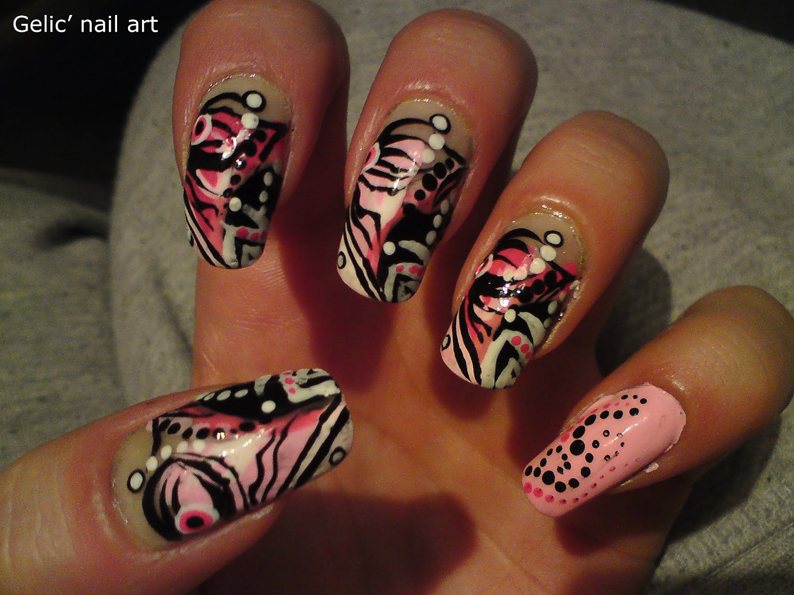Gelic Nail Art Dots And Stripes Mix Nail Art In Pink Black And White