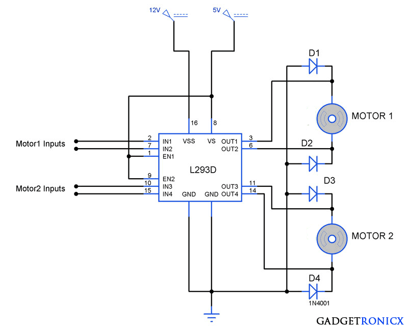 L293D DC Motor Control Circuit on l293d circuit diagram