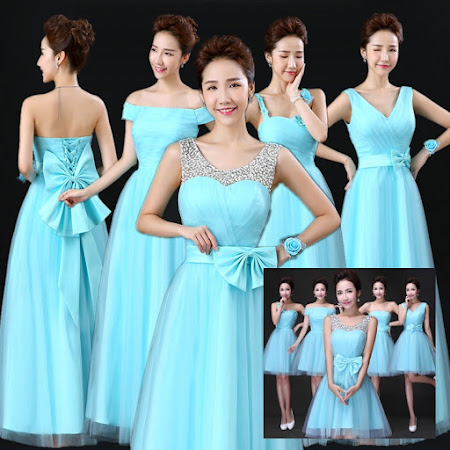 New Fresh Aqua Blue Bridesmaids Midi Dress
