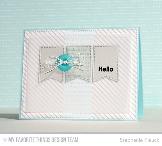 Banner Hello Card from Stephanie Klauck featuring the Diagonal Stripes Background stamp and Jumbo Fishtail Banner STAX Die-namics