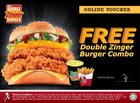 Kupon free Voucher PERCUMA KFC Double Zinger Burger Combo Coupon