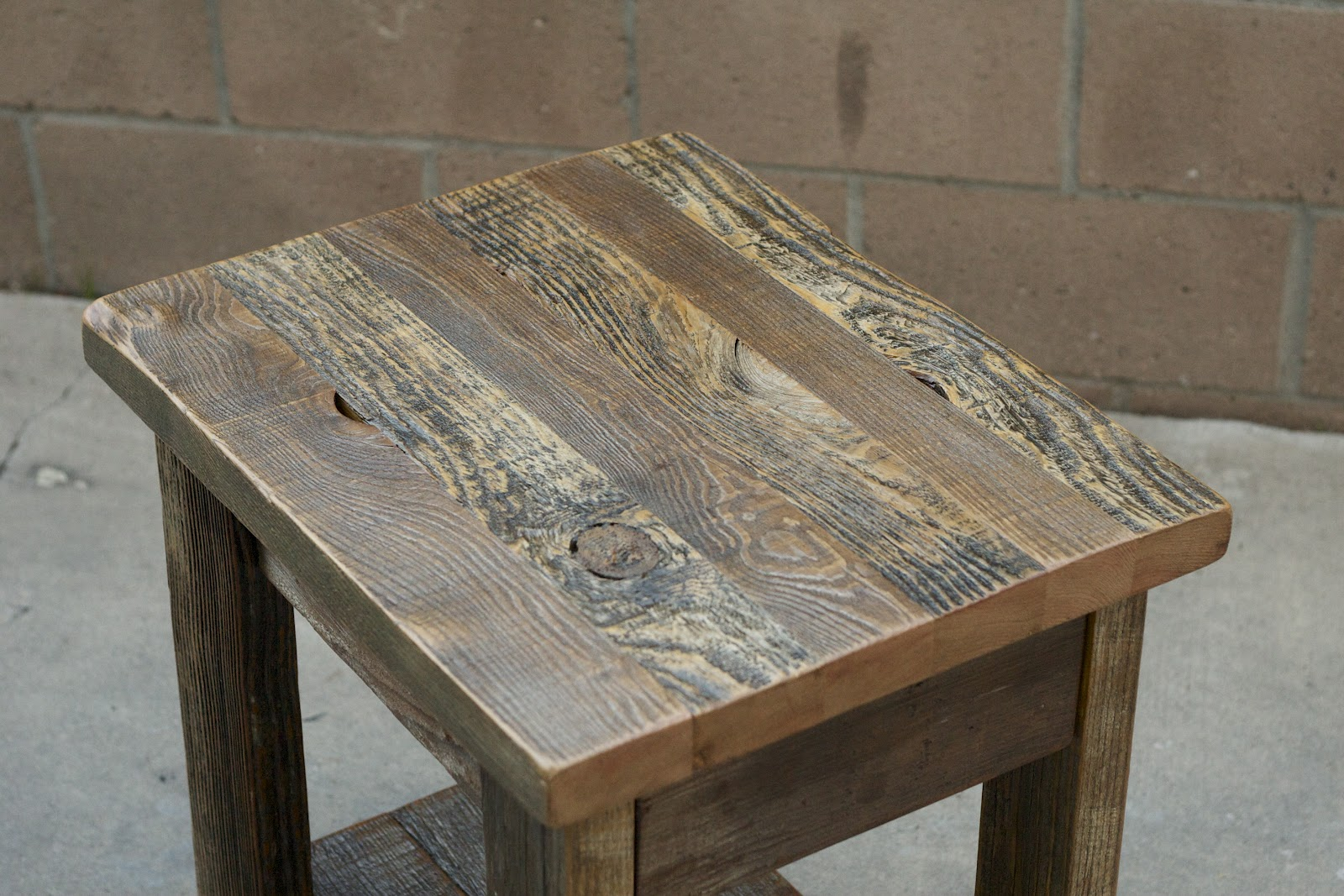 This Weathered End Table Was Constructed With Salvaged Wood From Pasadena  And Orange County. It Features A Drawer Made Out Of Beautiful Redwood And  ...